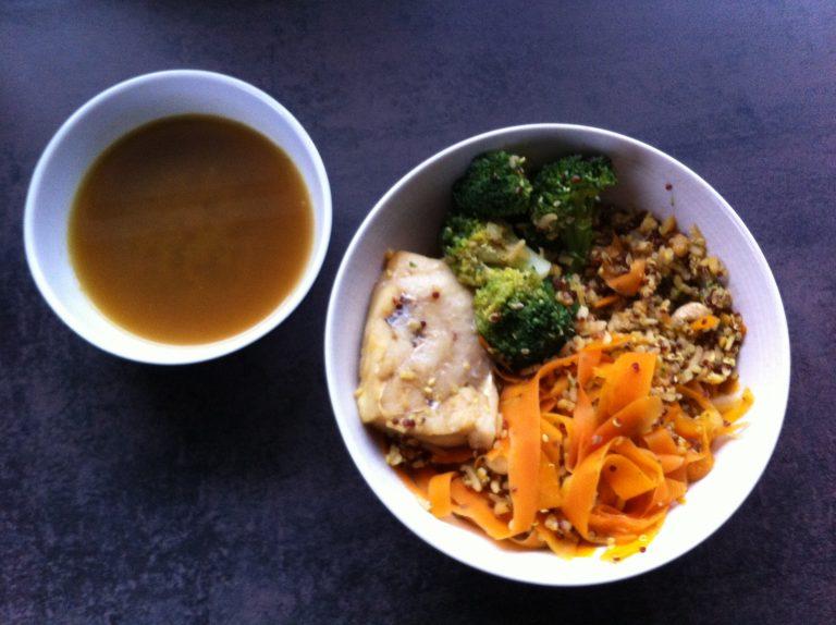 Recette Quinori poisson brocolis carottes cajou diététique