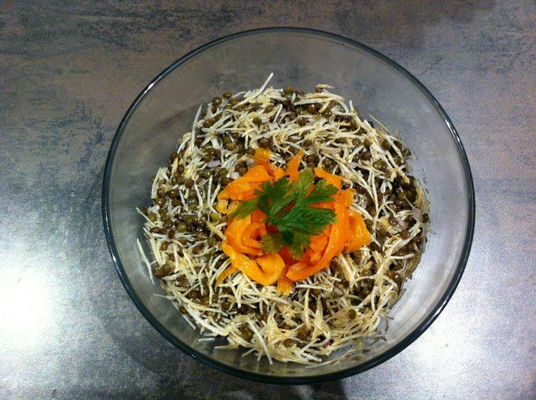 Recette salade lentilles celeri et truite fumee